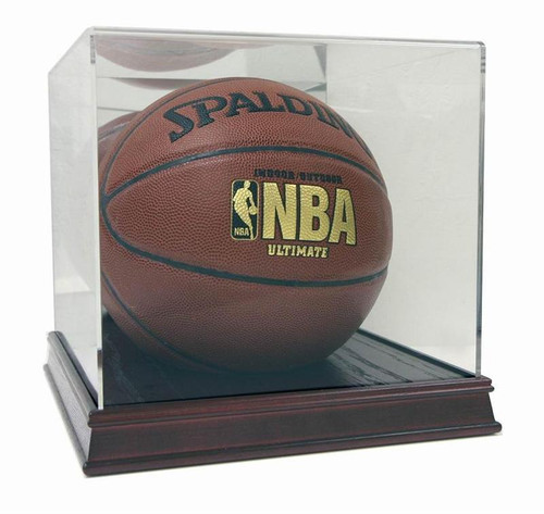 DELUXE FULL SIZE BASKETBALL WOOD DISPLAY CASE
