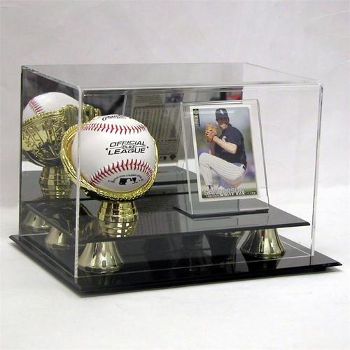 ACRYLIC GOLD GLOVE BASEBALL BALL & CARD DISPLAY CASE