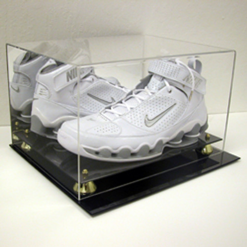 DELUXE BASKETBALL DOUBLE SHOE DISPLAY CASE HOLDER to SIZE 15 w/ Gold Risers