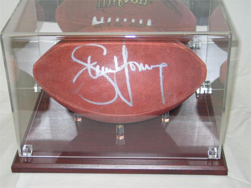 DELUXE FULL SIZE FOOTBALL CHERRY WOOD BASE DISPLAY