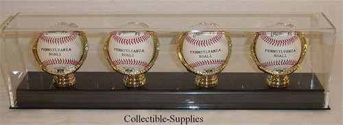 DELUXE ACRYLIC FOUR BASEBALL with GOLD GLOVES DISPLAY CASE
