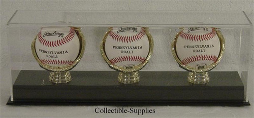 DELUXE ACRYLIC (THREE) TRIPLE BASEBALL with GOLD GLOVES DISPLAY CASE