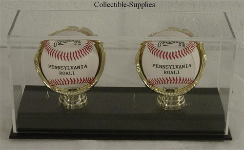 DELUXE ACRYLIC (TWO) DOUBLE BASEBALL with GOLD GLOVES DISPLAY CASE