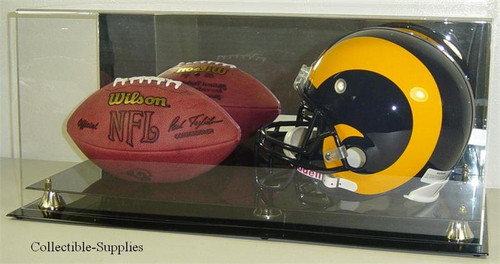 DELUXE FULL SIZE HELMET AND FULL SIZE FOOTBALL DISPLAY CASE