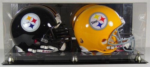 DELUXE DOUBLE FULL SIZE FOOTBALL HELMET DISPLAY CASE