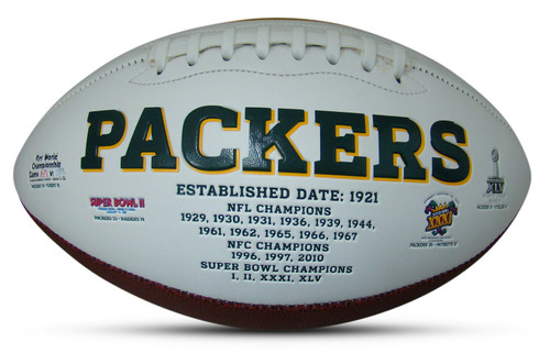 Green Bay Packers Embroidered Signature Series Autograph Football with All 4 Super Bowl Logos