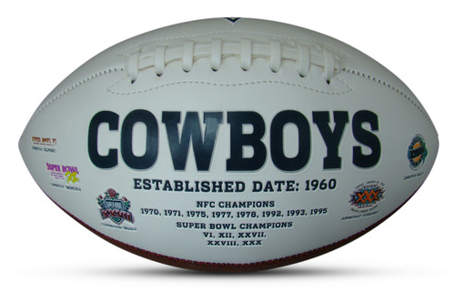 Dallas Cowboys Embroidered Signature Series Autograph Football with All 5 Super Bowl Logos