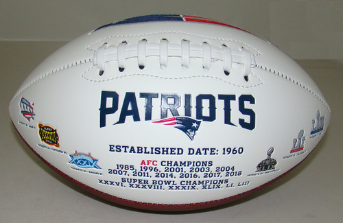 New England Patriots Embroidered Signature Series Autograph Football with All 6 Super Bowl Logos
