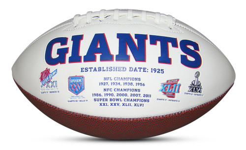 New York Giants Embroidered Signature Series Autograph Football with All 4 Super Bowl Logos