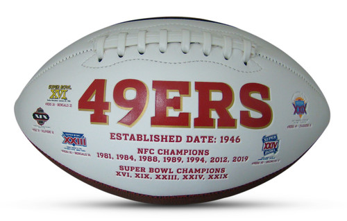 San Francisco 49ers Embroidered Signature Series Autograph Football with All 5 Super Bowl Logos