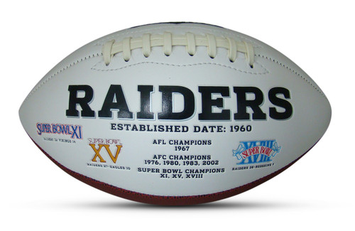 Las Vegas Raiders Embroidered Signature Series Autograph Football with All 3 Super Bowl Logos