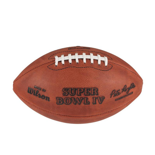 Super Bowl IV (Four 4) Minnesota Vikings vs. Kansas City Chiefs Official Leather Authentic Game Football by Wilson