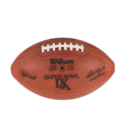 Super Bowl IX (Nine 9) Minnesota Vikings vs. Pittsburgh Steelers Official Leather Authentic Game Football by Wilson