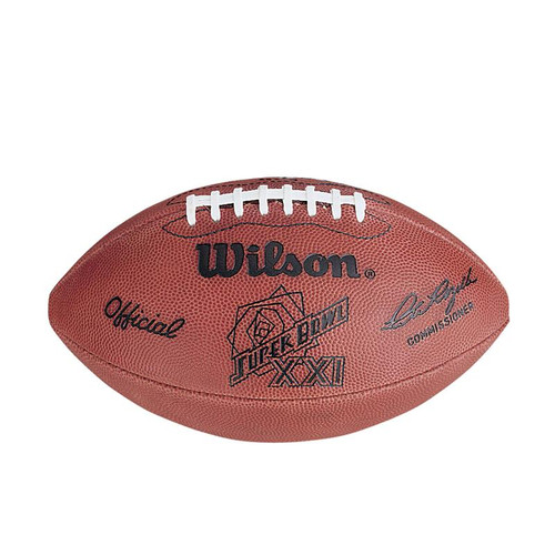 Super Bowl XXI (Twenty-One 21) New York Giants vs. Denver Broncos Official Leather Authentic Game Football by Wilson