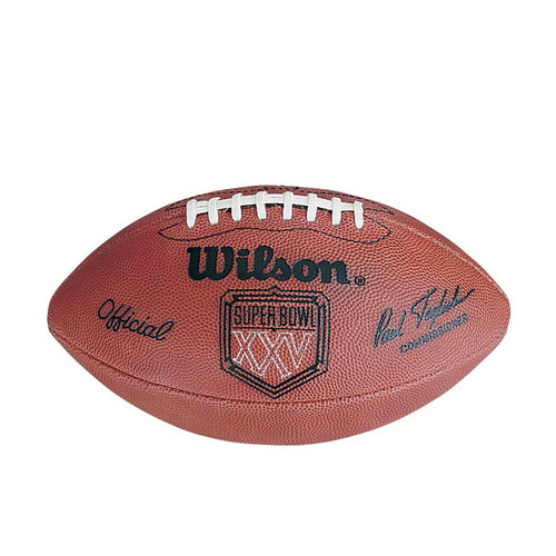 Super Bowl XXV (Twenty-Five 25) New York Giants vs. Buffalo Bills Official Leather Authentic Game Football by Wilson