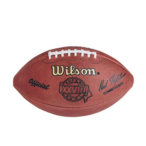 Super Bowl XXVIII (Twenty-Eight 28) Dallas Cowboys vs. Buffalo Bills Official Leather Authentic Game Football by Wilson