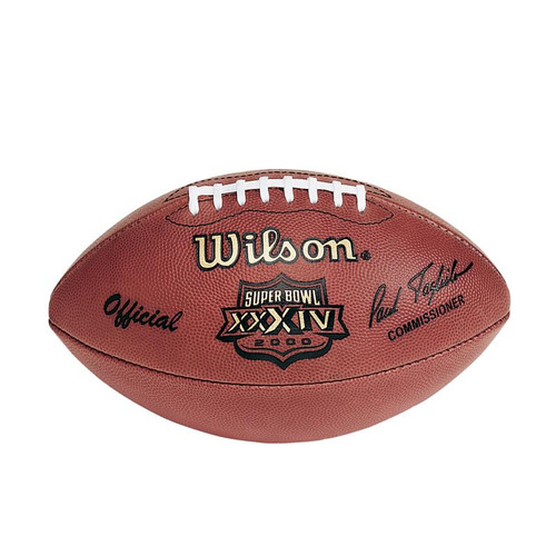 Super Bowl XXXIV (Thirty-Four 34) St. Louis Rams vs. Tennessee Titans Official Leather Authentic Game Football by Wilson