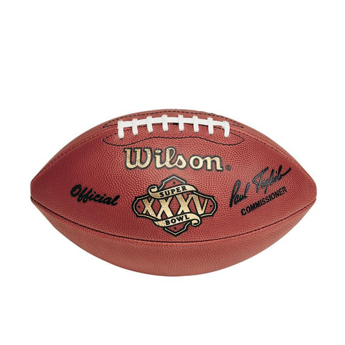 Super Bowl XXXV (Thirty-Five 35) New York Giants vs. Baltimore Ravens Official Leather Authentic Game Football by Wilson