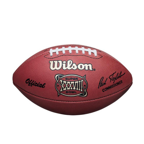 Super Bowl XXXVIII (Thirty-Eight 38) Carolina Panthers vs. New England Patriots Official Leather Authentic Game Football by Wilson