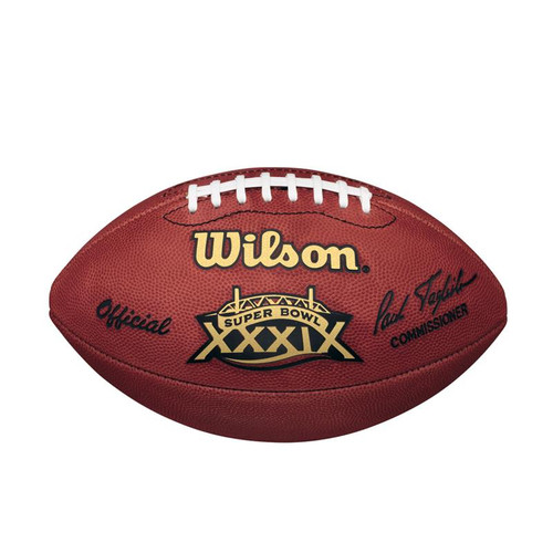Super Bowl XXXIX (Thirty-Nine 39) Philadelphia Eagles vs. New England Patriots Official Leather Authentic Game Football by Wilson
