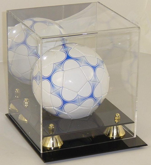 Deluxe Mini Soccerball Display Case with Gold Risers