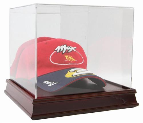 DELUXE CHERRY WOOD BASE HAT CAP DISPLAY CASE