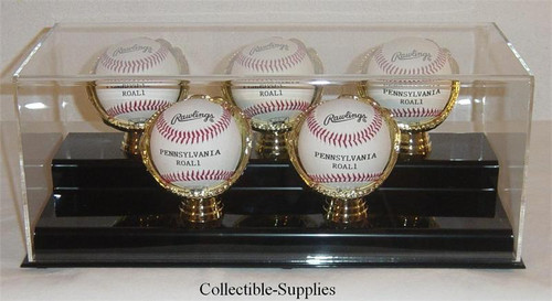 DELUXE ACRYLIC FIVE BASEBALL with GOLD GLOVES DISPLAY CASE