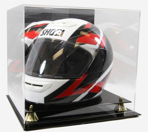 DELUXE FULL SIZE RACING HELMET DISPLAY CASE with GOLD RISERS