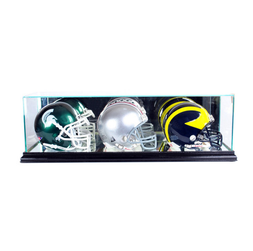 Deluxe Real Glass Triple Mini Helmet Display Case