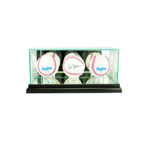 Deluxe Real Glass Triple Baseball Display Case