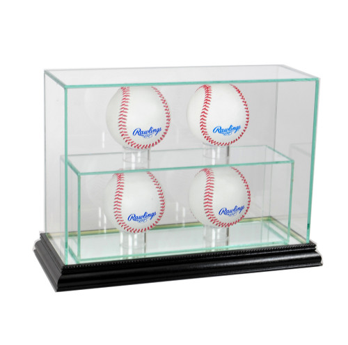 Deluxe Real Glass 4 Baseball UPRIGHT Display Case