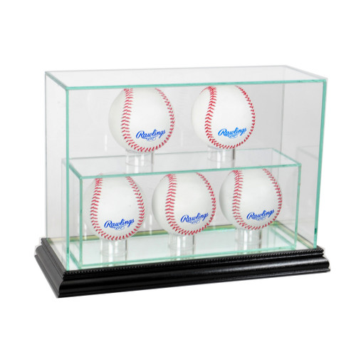 Deluxe Real Glass 5 Baseball UPRIGHT Display Case