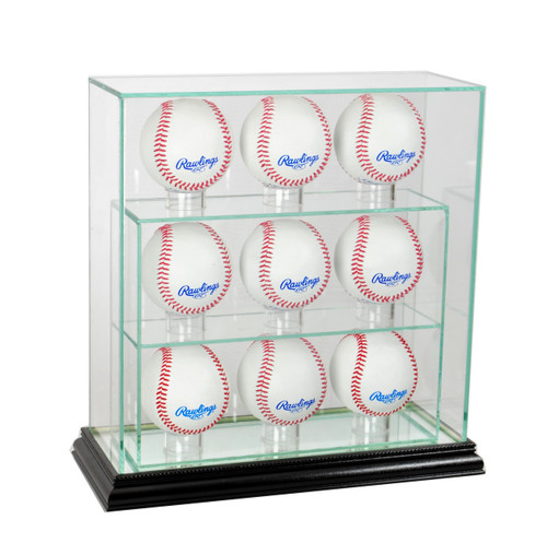 Deluxe Real Glass 9 Baseball UPRIGHT Display Case