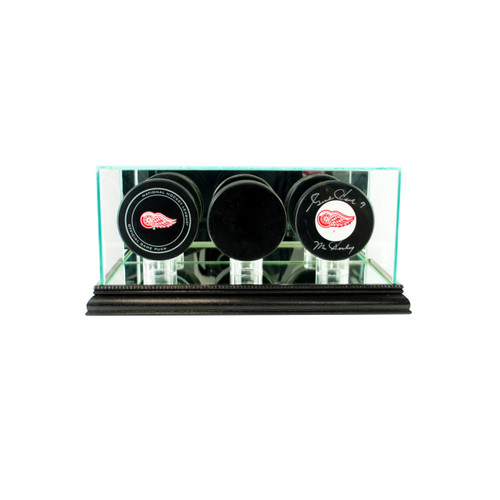 Deluxe Real Glass Triple Puck Display Case