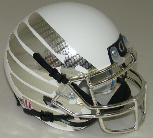 Oregon Ducks Authentic Schutt Mini Football Helmet - White with Carbon Fiber Wings