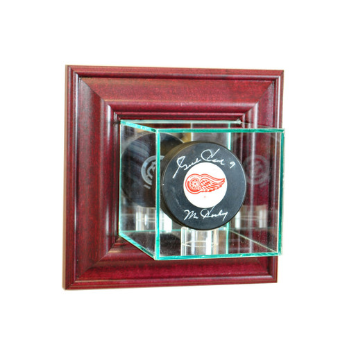 Deluxe Real Glass Wall Mounted Single Puck Display Case
