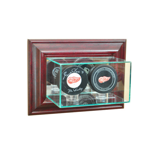 Deluxe Real Glass Wall Mounted Double Puck Display Case