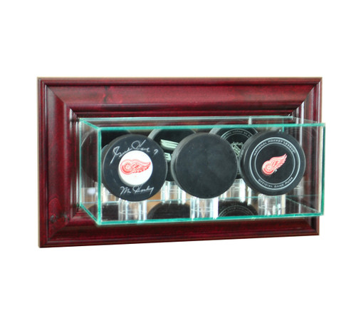 Deluxe Real Glass Wall Mounted Triple Puck Display Case