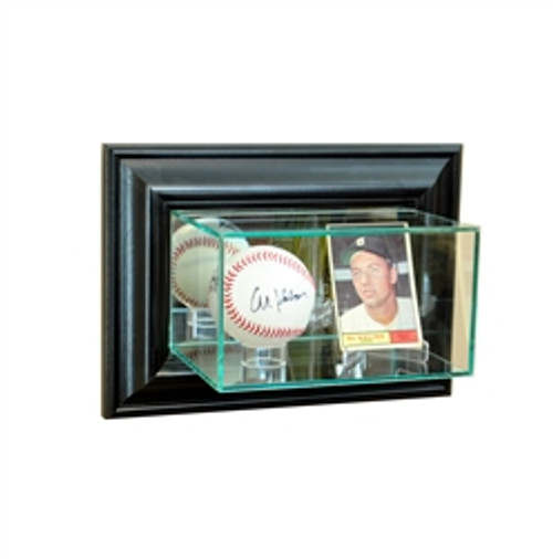 Deluxe Real Glass Wall Mounted Card and Single Ball Display Case