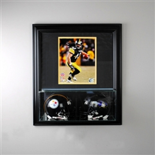 Deluxe Real Glass Wall Mounted Double Mini Helmet Case 8 x 10 Display Case