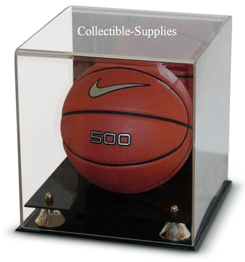 Deluxe Mini Basketball Display Case with Gold Risers