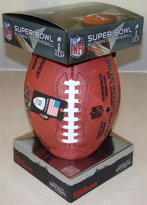 Super Bowl XLV (Forty-Five 45) Green Bay Packers vs. Pittsburgh Steelers Official Leather Authentic Game Football by Wilson