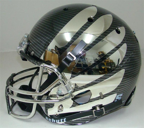 Oregon Ducks Carbon Fiber Chrome Wing Schutt Full Size Replica XP Football Helmet