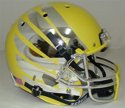 Oregon Ducks Carbon Fiber Yellow Wing Schutt Full Size Replica XP Football Helmet