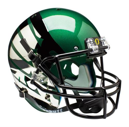Oregon Ducks Carbon Fiber Green  Wing Schutt Full Size Replica XP Football Helmet