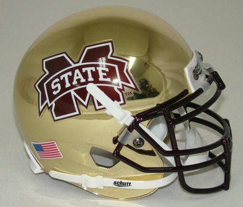 Mississippi State Bulldogs Alternate Gold Chrome Schutt Mini Authentic Football Helmet