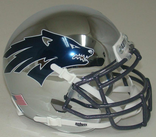 Nevada Reno Wolfpack Alternate Battle Born Chrome Schutt Mini Authentic Football Helmet