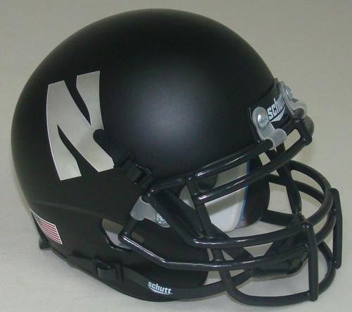 "Northwestern Wildcats Alternate Black ""N"" Schutt Mini Authentic Football Helmet"