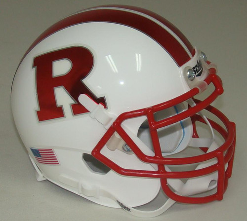 Rutgers Scarlet Knights Alternate WHITE with CHROME RED Schutt Mini Authentic Football Helmet