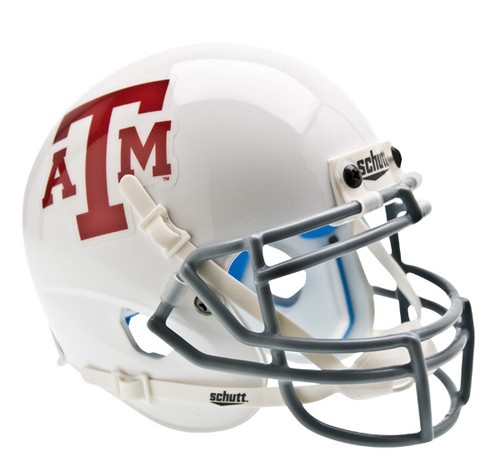 Texas A&M Aggies Alternate White with Gray Facemask Schutt Mini Authentic Helmet